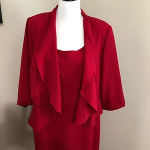 Danny & Nicole 2 pc Red Dress Jacket Set  p0160